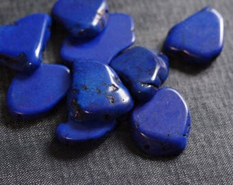 Large Dyed Cobalt Magnesite Bead Slices 20-30mm - 9 Beads - Large Magnesite Slab, Magnesite Nugget Bead, Royal Blue Flat Slice Bead