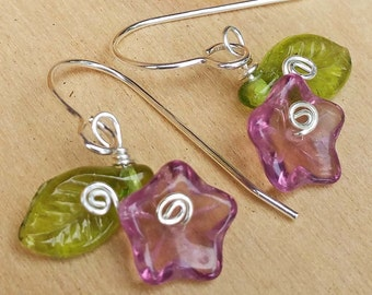 Little Lilac Purple Glass Flower Earrings, Czech Glass Beads Silver Wire Wrapped Dangle Earrings, Flower Girl Jewelry, Women, Gift for Her