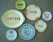 Seven Deadly Sins art assemblage hand painted recycled vintage china plates display sinful decor SALE