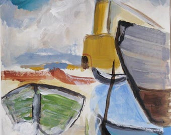 The Harbor, original sketch on paper, acrylic and oil pastel