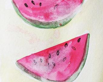 Watermelon,  original painting, watercolor on paper, summer, fruit