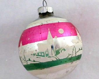 Vintage Glass Christmas Tree Ornament  - 1950's Village Stencil Mid Century Shiny Brite Ornament