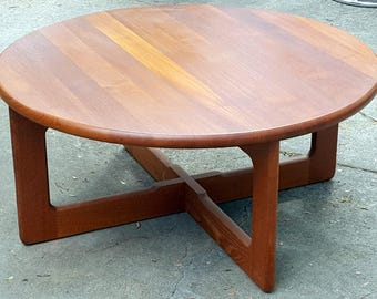 Mid Century Round Solid Teak Coffee Table Made in Germany