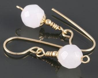 Faceted Snow Quartz Earrings. Gold Filled Ear Wires. White Quartz. Genuine Gemstone. f16e208