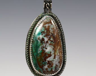 Chrysocolla Pendant. Sterling Silver Necklace. Bezel Setting. Natural Gemstone. One of Kind. Cabochon. s13p007