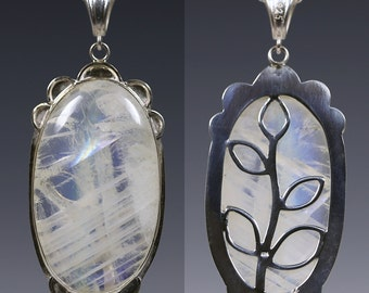 Moonstone Pendant. Reversible. Sterling Silver Necklace. One of a Kind. Gift for Her. Rainbow Moonstone. Cabochon. June Birthstone. f15p005