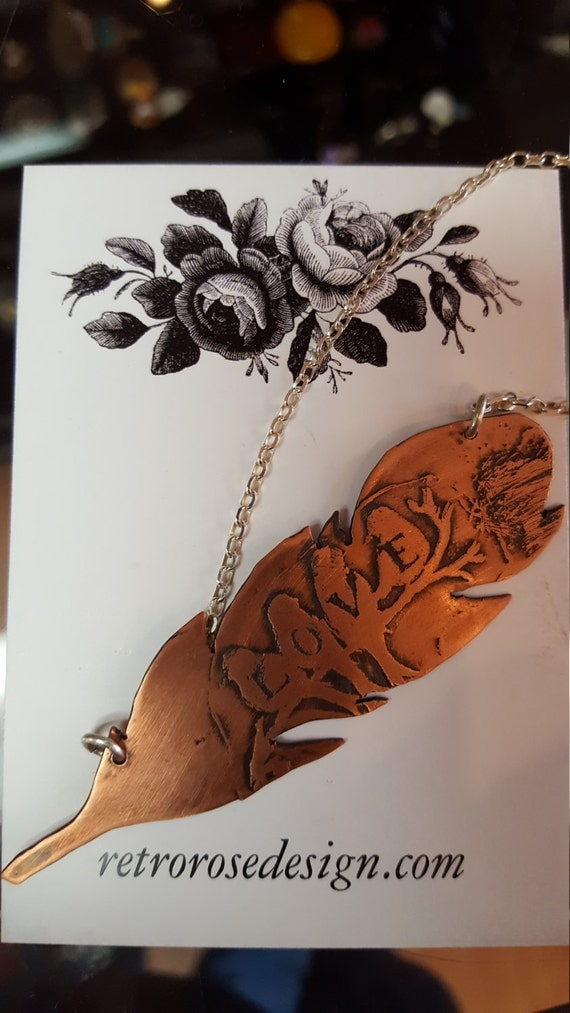 Feather Love Copper Etched Copper pendant
