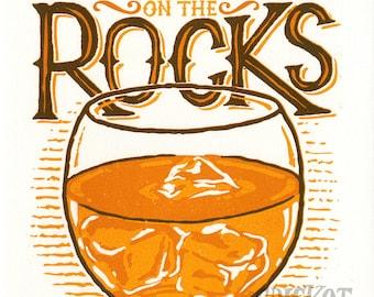 Bourbon on the Rocks - Letterpress Art Print