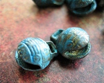 Distressed Blue Brass Patina Bells - 1 pair - 10mm India Bells