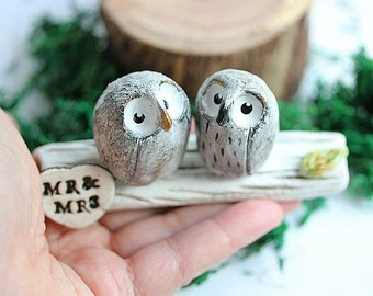 Clay Owls - Owl Cake topper - Clay Owls Cake Topper - Miniature Hand sculpted Clay Owls - custom order