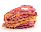 Recycled chiffon silk ribbon 10 metres handdyed Sunset Party, plum orange pink, textile arts, mixed media, jewellery, bouquet wrap uk seller