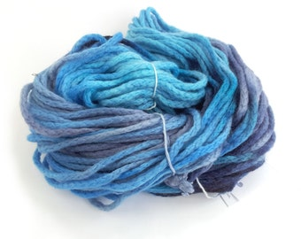 Handdyed chunky wool, blue bulky merino chainette yarn, knitting crochet Perran Yarns Ocean Blue yarn skein hank, free knitting pattern