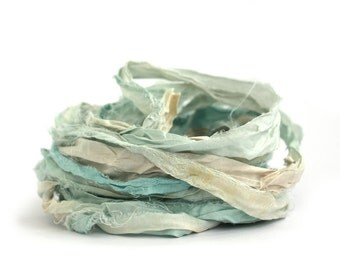 10metres handdyed recycled sari silk ribbon, Waterworld, aqua pale blue cream ecru, textile arts. mixed media