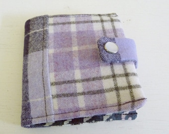 Patchwork Wool Wallet Lavender and Blue Tones with Snap Closure