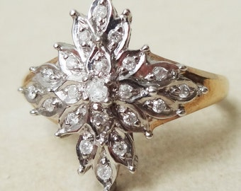 Vintage Statement Diamond Flower Ring, 19 Diamond and 9k Gold Ring, Approximate Size US 6.5/7