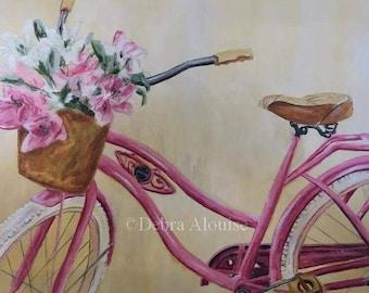 Pink Bicycle Large Original Painting Basket of Flowers Bike Girls Kids Wedding Shower Art by Artist Debra Alouise