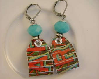 Retro Girl - Vintage Hand Cut Retro Graphic Tin Turquoise Beads Recycled Repurposed Upcycled Jewelry Earrings - 10 Year Anniversary