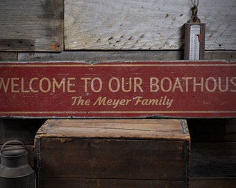 Bout House Gift, Boat House Sign, Lake House Decor, Boat House Decor, Wooden Boat Sign  - Rustic Hand Made Vintage Wooden Sign ENS1001788