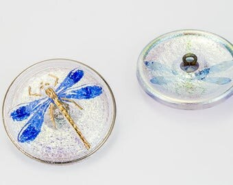 31mm Crystal AB/Blue Dragonfly Button #BUT001