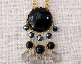 long black bohemian necklace . dreamcatcher necklace . long fringe pendant . norwich . black tassel necklace . abstract bubble necklace