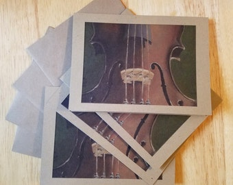 "Violin Note Cards on Sepia Cardstock 4"" x 5 1/2"""