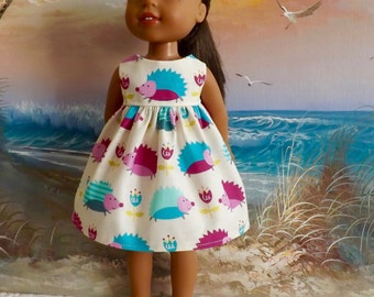 """SALE 14 and 14.5"""" Doll Dress Adorable Bright Hedgehogs Fits Dolls Like H4H and Wellie Wishers"""