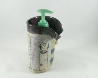Handmade pottery vase, Desk accessory pencil holder, toothbrush holder, gift for her, art vessel office, dorm, home decor, desk 591
