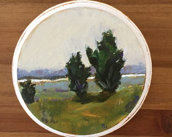 small landscape original painting on wood juniper trees green landscape