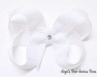 Small White Boutique Hair Bow - small white bow - white baby bow - 2 inch white bow - baby bows - girls bows - mini bow - no slip bows