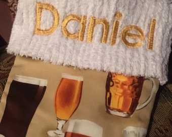 New Lager Beer Glass and Chenille Handmade Christmas Stocking with FREE US SHIPPING