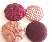 CLEARANCE - Berry button, wine buttons,  fabric covered buttons , embroidered buttons, size 75 buttons, PRICE PER Button