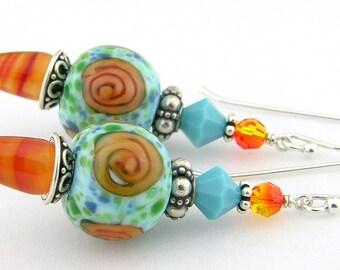 Orange flower carnelian turquoise sterling earrings - handmade, artisan lampwork, cserpentDesigns