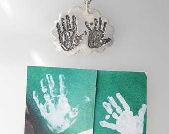 HAND PRINT, FOOT Print or Your Image on this or any shape Silver Tag - baby necklace - mommy necklace, birthday necklace, foot print