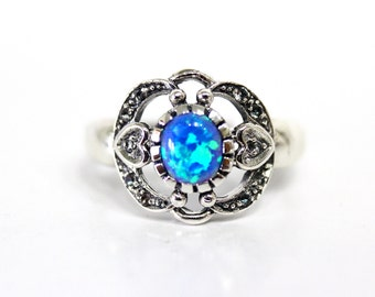 Fire Opal Ring White Topaz Halo Sterling Silver Heart Ring Blue Fire Opal Ring Size 7