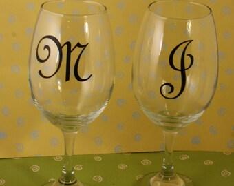 Custom Monogramed Wine Glasse