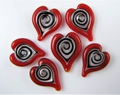Small Red Hearts Lampwork Glass Beads (6)