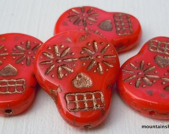 Sugar Skull Beads - 20mm Opaque Coral Red Bronze Picasso Sugar Skull Beads -  Czech Glass Beads