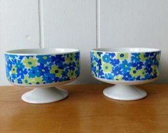 2 vintage blue floral pedestal dessert cups