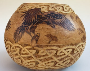 Elijah and the Ravens pyrography Large carved Gourd Bowl