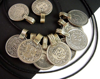 10 Vintage Kuchi Coin Pendants, Silver Coin Pendants, 18mm Coin, 22mm with Bail, Tribal Bellydance, Costume Coins, Tribal Kuchi HO69