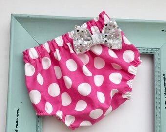 Hot pink polka dots diaper cover...with sequins silver bow -New baby -- baby girls clothing