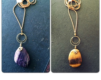 Amethyst Tigers Eye Gemstone Pendant  Necklace - Stone Necklace - brass chain choker - Long crystal necklace