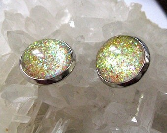 Be Dazzling - Gold Shimmer Post Stud Earrings - Glitter Collection - Gold Multi Colored - Mothers Day