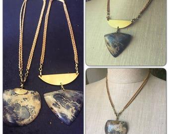 Dendrite in Jasper Gemstone pendant Necklace - geometric Statement -detachable chain Necklace - dendrite in Jasper necklace
