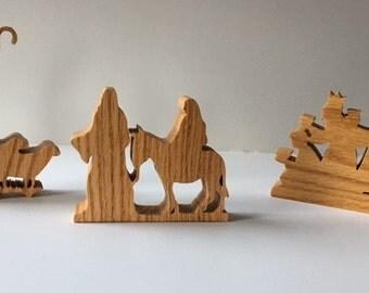 Nativity Woodcuts - Christmas Decorations - Set of 3