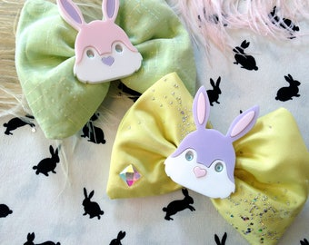 Easter Laser Cut Acrylic Bunny Rabbit Head Pastel Chartreuse and Yellow Sparkle Hair Bows