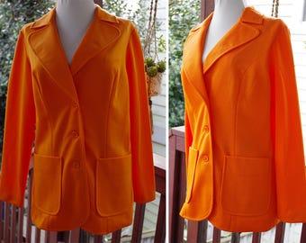 TANGERINE 1960's 70's Vintage Bright Orange Citrus Polyester Blazer Suit Jacket // by GRAFF Californiawear // size Medium 36 38