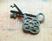Dark Antique Key Duo - The Grey Garden // New Year Sale - 15% OFF - Coupon Code SAVE15