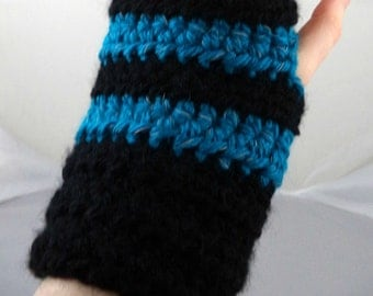 Black and Reflective Aqua Striped Crocheted Wrist Warmers (size M-L) (SWG-WW-MJ14)