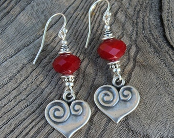 Sweetheart Earrings/ Faceted Antique Beads/Hearts/Handmade/Sterling Silver/Boho Chic/Summer Wear/Bali Beads